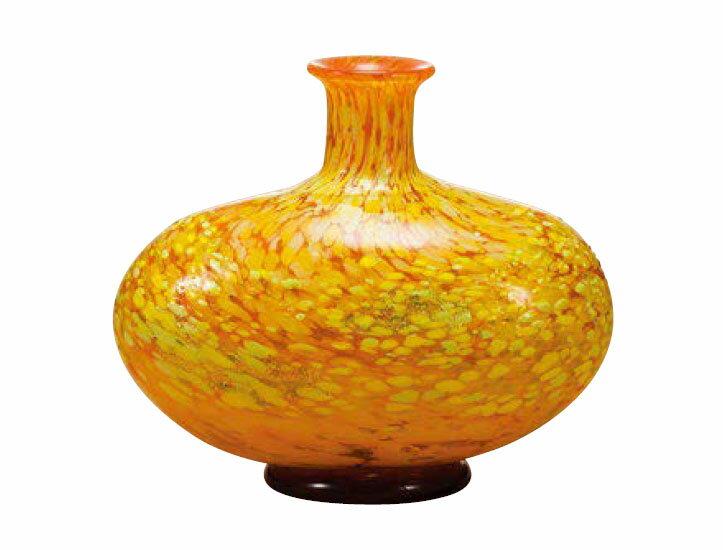 花瓶 フラワーベース 花入 ビードロ 津軽びいどろ 花器(大) 十和田紅葉