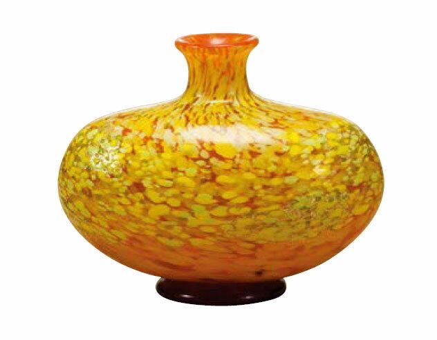 花瓶 フラワーベース 花入 びいどろ ビードロ 津軽びいどろ 花器(中) 十和田紅葉