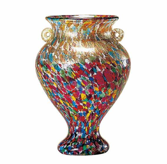 ガラス 花器 フラワーベース 津軽びいどろ 大川薫工房 ねぶたまつり花瓶(中)