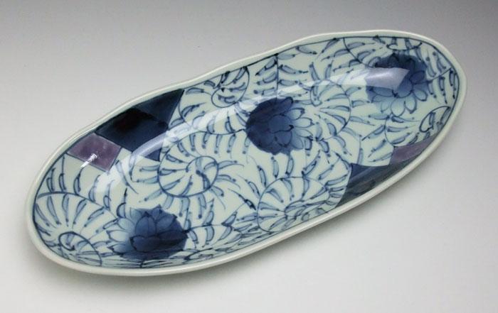 楕円皿 大皿 盛皿 刺身皿 前菜皿 有田焼 折紙唐草楕円皿(大)