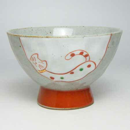ご飯茶碗 有田焼 手作りねこ 飯碗