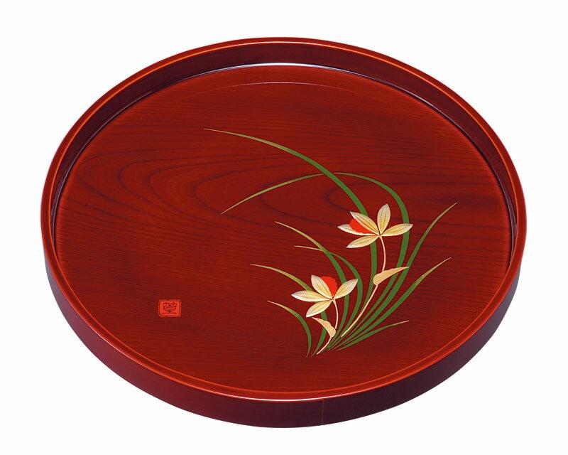 お盆 トレー 記念品 引出物 10.0 丸盆 春ラン(盛絵) 木製 23-8-5