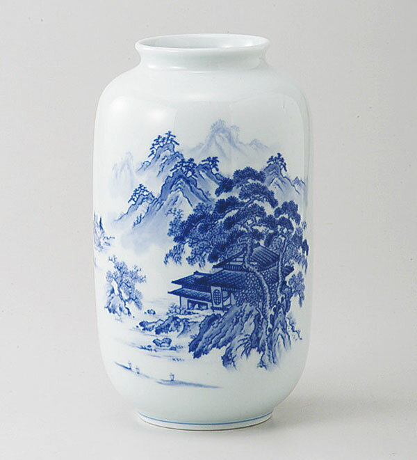 有田焼 山水 夏目型 花瓶 saiky-k91-01185