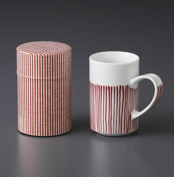 茶筒 茶缶 マグカップ 波佐見焼 木草 マグ(赤)セット