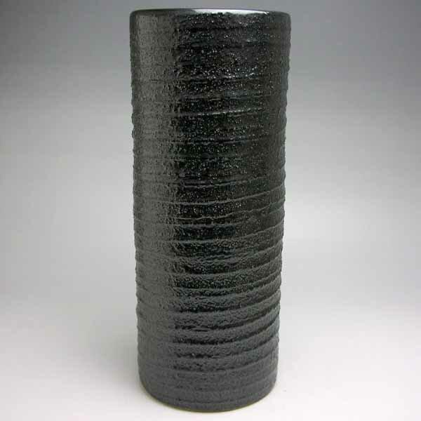 花器 フラワーベース 花入 陶器 花瓶 10号寸胴砂付黒