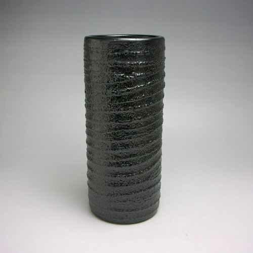 花器 花入 フラワーベース 陶器 花瓶 7号寸胴砂付黒