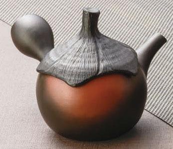 急須 常滑焼 素三作 窯変茄子 陶製茶こし