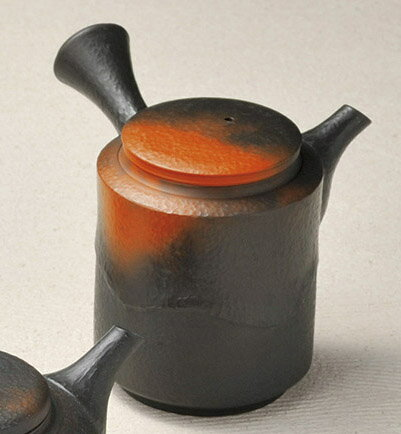 急須 常滑焼 益規作 窯変たたき 陶製茶こし 210cc