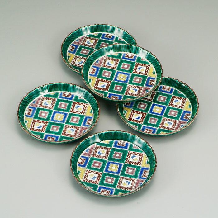 中皿 銘々皿 菓子皿 中鉢 九谷焼 5.5号 皿揃 石畳の図 送料無料 ap4-0160