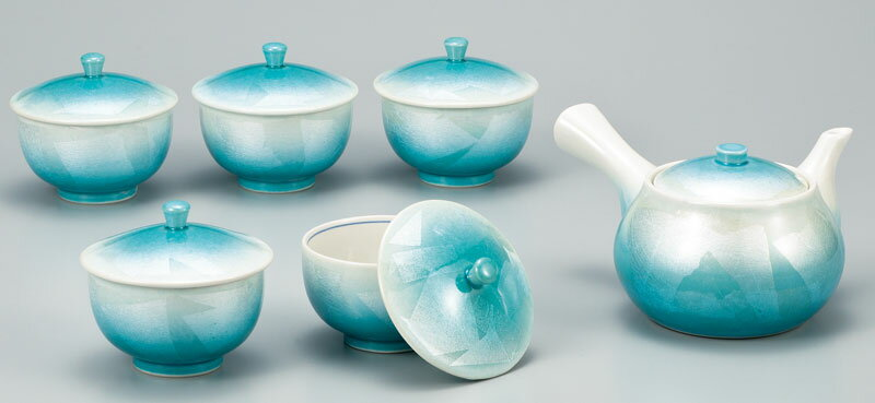 湯呑 急須 茶器セット 九谷焼 蓋付茶器揃 銀彩 ap4-0558
