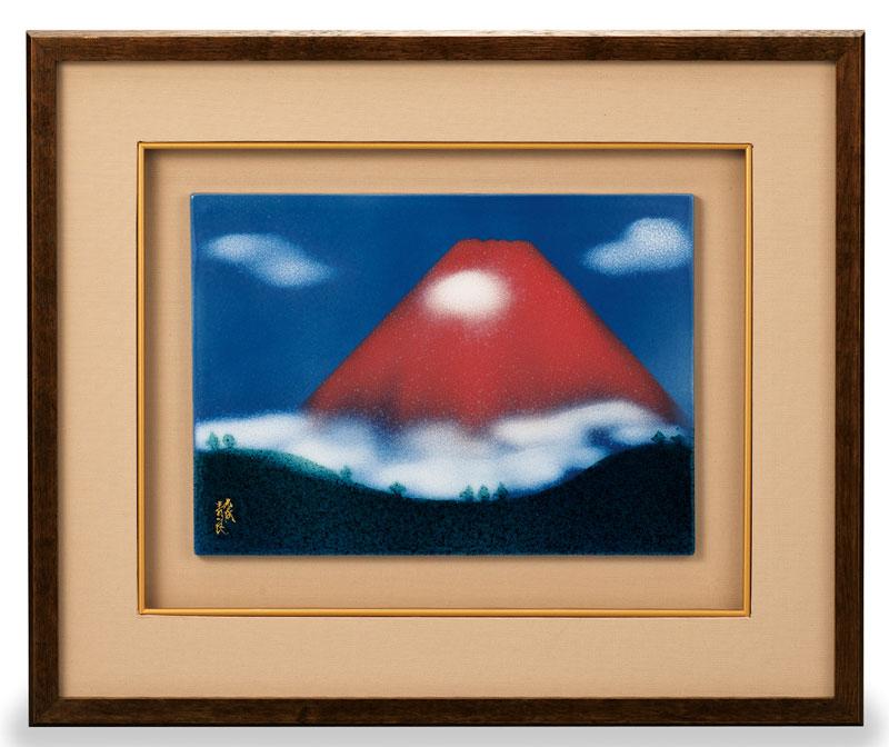 パネル 飾皿 世界遺産 富士山 九谷焼 (和田昭男) 陶額 赤富士 ap4-1203