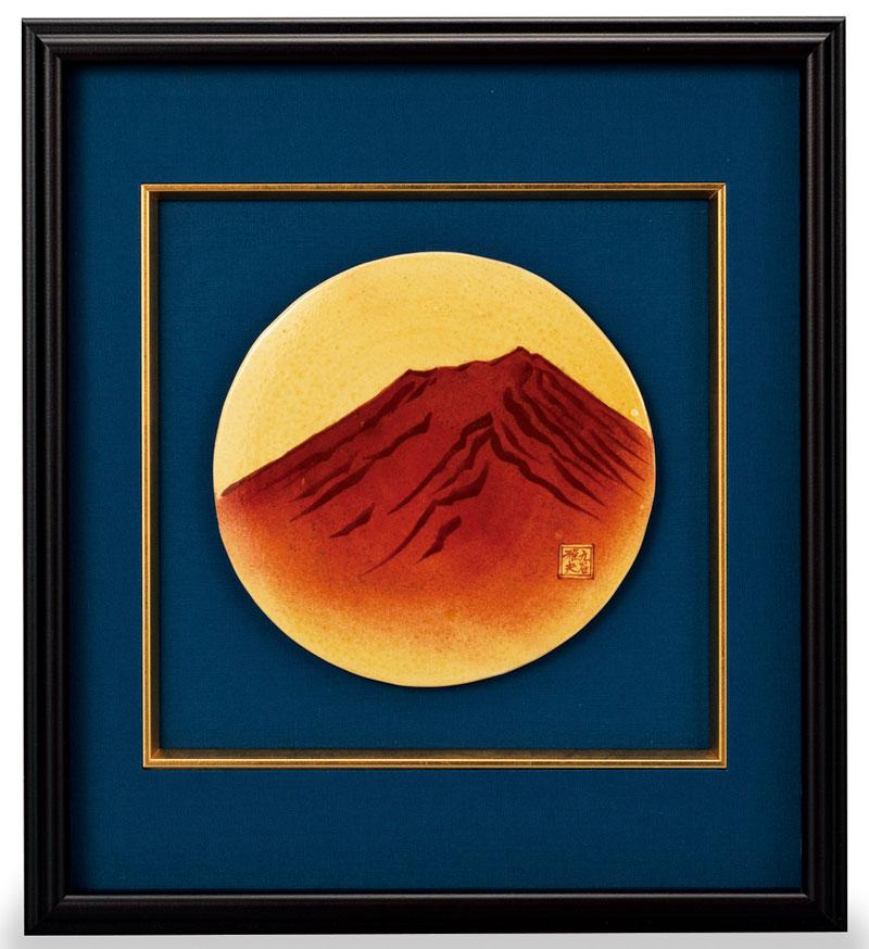 パネル 世界遺産 富士山 九谷焼 (宮本雅夫) 陶額 赤富士 ap4-1208
