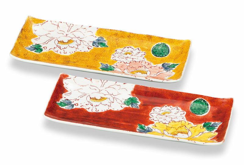 中皿 中鉢 サラダボウル デザート皿 九谷焼 ペア皿 吉田屋風牡丹 ap4-0338