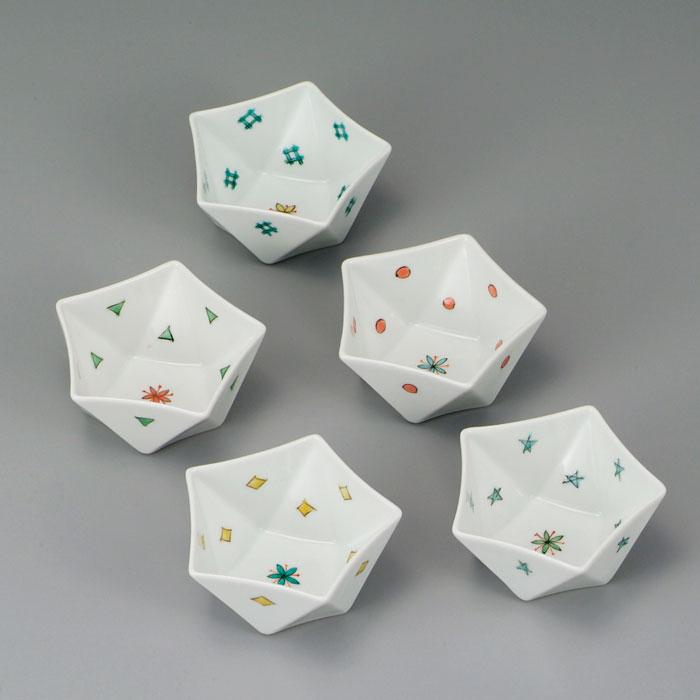 小皿 中皿 小鉢 中鉢 九谷焼 3.2号 小鉢揃 五彩 ap4-0309