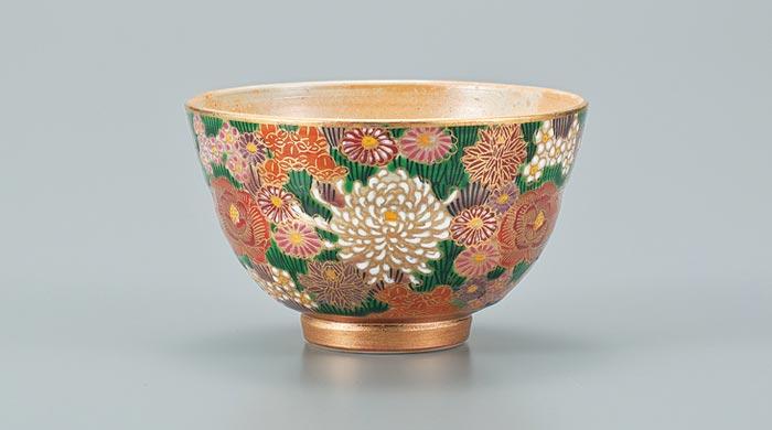茶器 茶道具 抹茶茶碗 九谷焼 抹茶碗 金花詰 ap4-0564