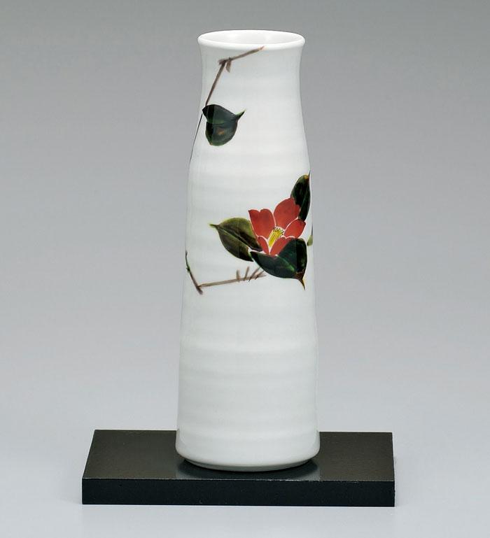 花器 花入 フラワーベース 九谷焼 花瓶 8号 椿 高畠敏彦 ap4-1018