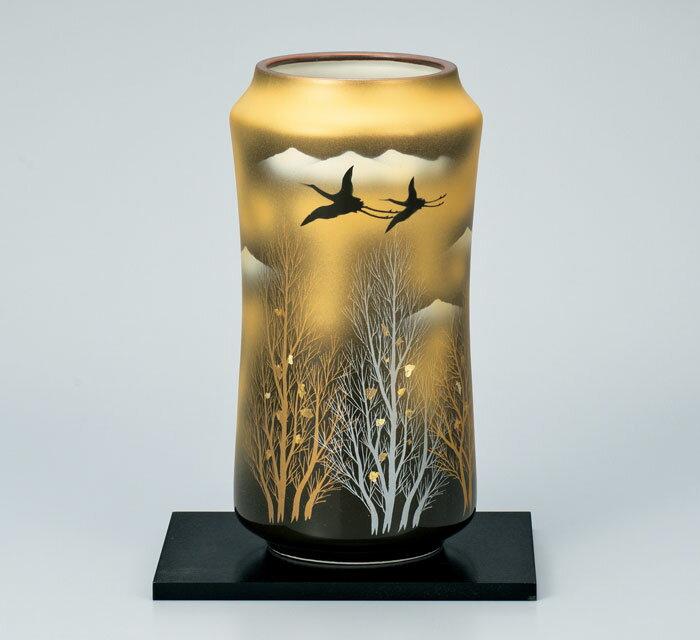 花器 花入 フラワーベース 九谷焼 8号 花瓶 金雲木立 ap4-1031