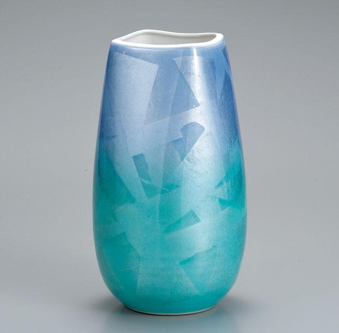 花器 花入 フラワーベース 九谷焼 9号 花瓶 銀彩 ap4-1035