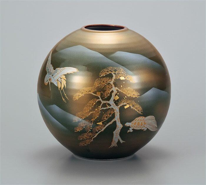 フラワーベース 花器 九谷焼 7号 花瓶 鶴亀 ap4-1042