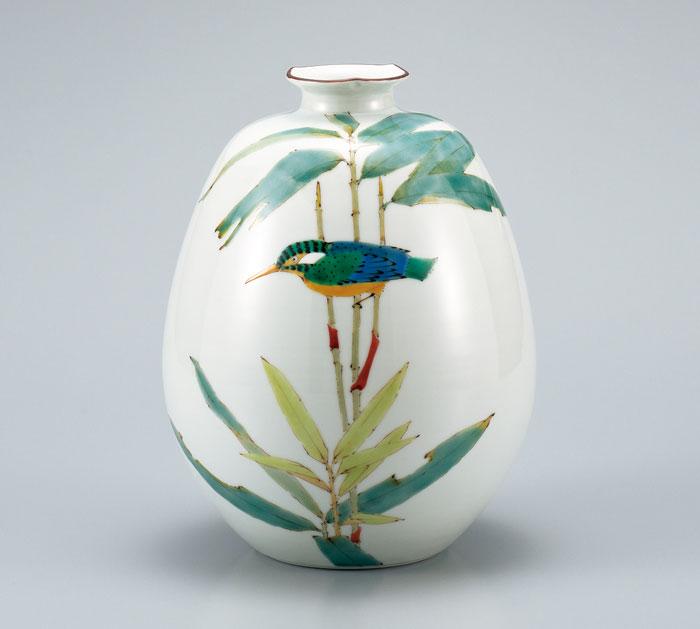 花器 フラワーベース 九谷焼 8号 花瓶 笹に翡翠 山田龍山 ap4-1055