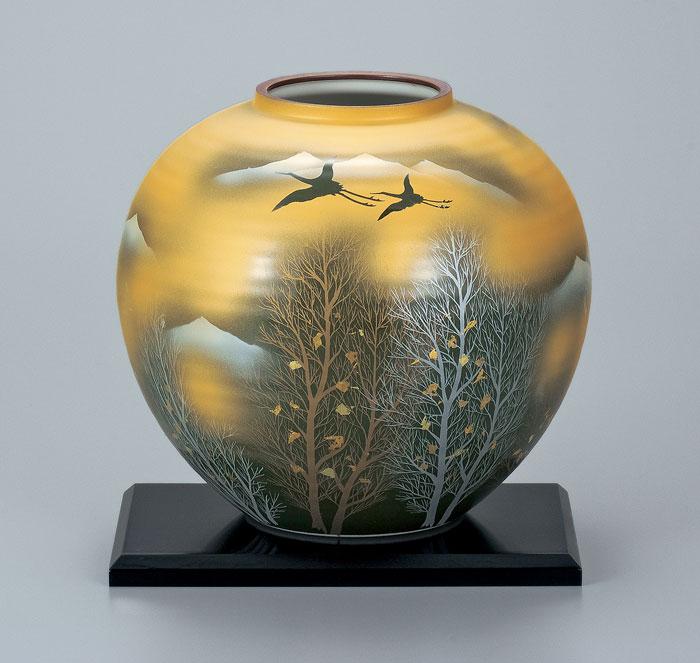 花器 フラワーベース 九谷焼 8号 花瓶 金雲木立 ap4-1053