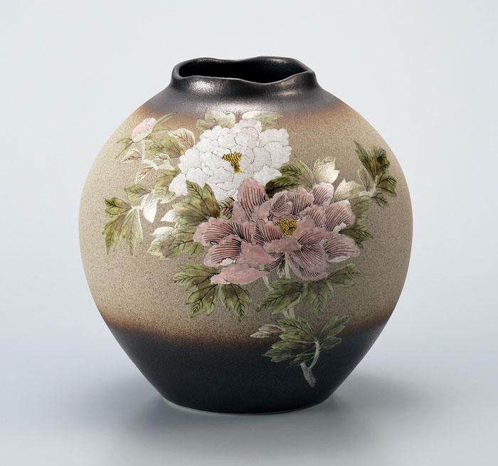 花器 フラワーベース 九谷焼 8号 花瓶 牡丹 澤田穂光 ap4-1057