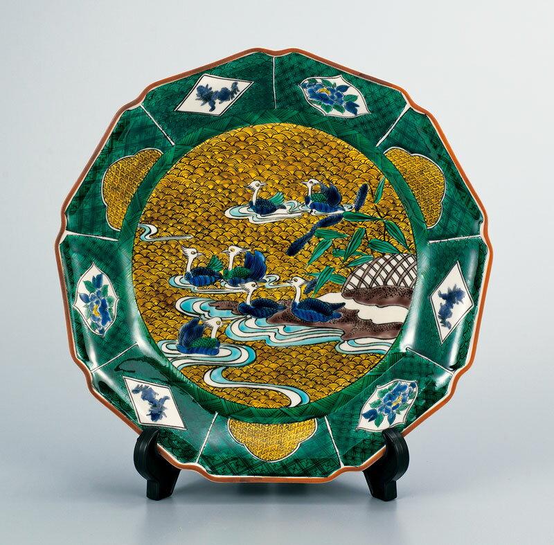 皿 大皿 飾皿 置物 九谷焼 10号 飾皿 おしどり ap4-1103