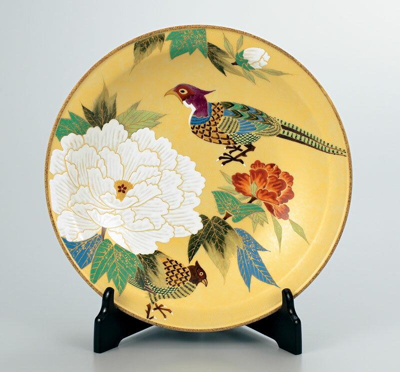 皿 大皿 飾皿 置物 九谷焼 10号 飾皿 牡丹に雉 ap4-1104