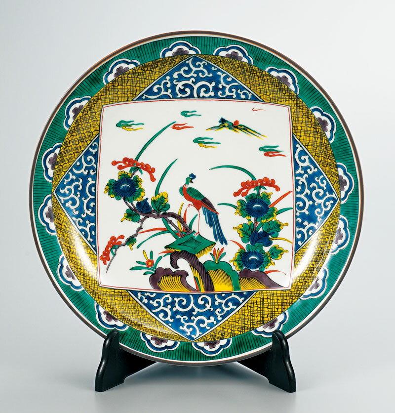 大皿 置物 九谷焼 12号 飾皿 古九谷風花鳥 ap4-1105