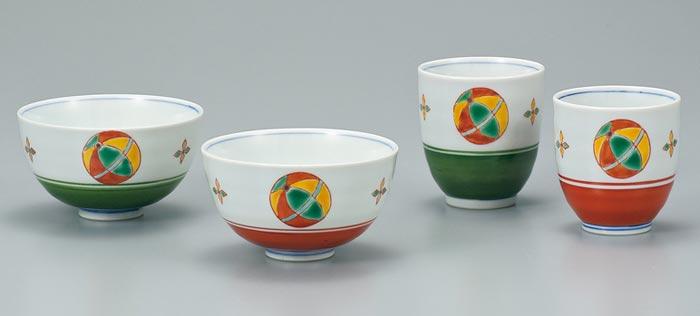 茶碗 湯呑 夫婦セット 九谷焼 夫婦揃 てまり ap4-0603