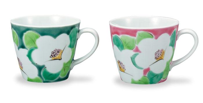 九谷焼 ペアマグカップ 色絵椿 ap4-0934