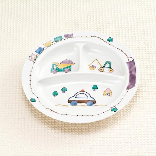 子供食器 九谷焼 子供プレート はたらくのりもの ap4-0612