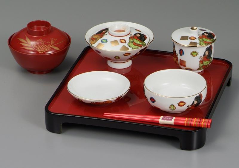 子供食器 茶碗 湯呑 飯碗 お食い初め 九谷焼 子供揃 お手玉 ap4-0613