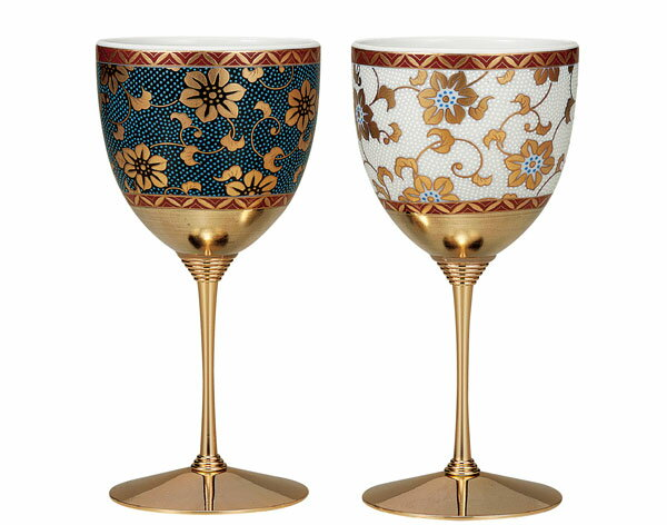 ワイングラス 九谷焼 ペアワインカップ 鉄仙文 k5-1129