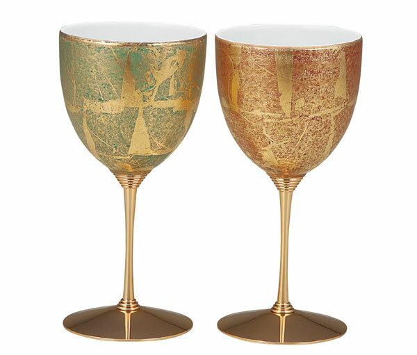 ワイングラス 九谷焼 ペアワインカップ 金箔彩 k5-1132