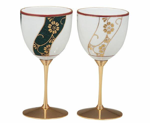 ワイングラス 九谷焼 ペアワインカップ 本金捻鉄仙文 k5-1134
