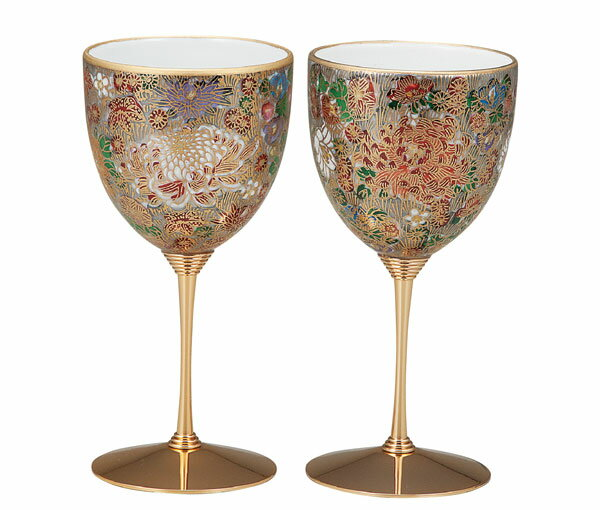ワイングラス 九谷焼 ペアワインカップ 金花詰 k5-1133