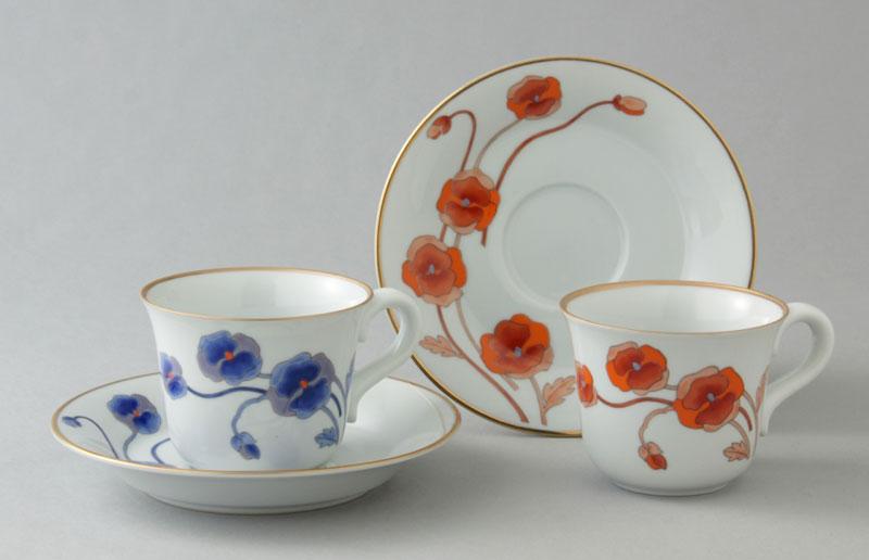 コーヒーカップ コーヒー碗皿 有田焼 ポピー ペア珈琲碗皿 Y175-176-W