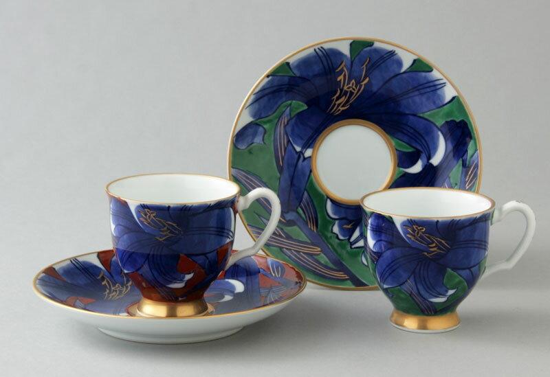コーヒーカップ コーヒー碗皿 有田焼 赤濃・緑濃百合 ペア珈琲碗皿 送料無料 Y181-182-W