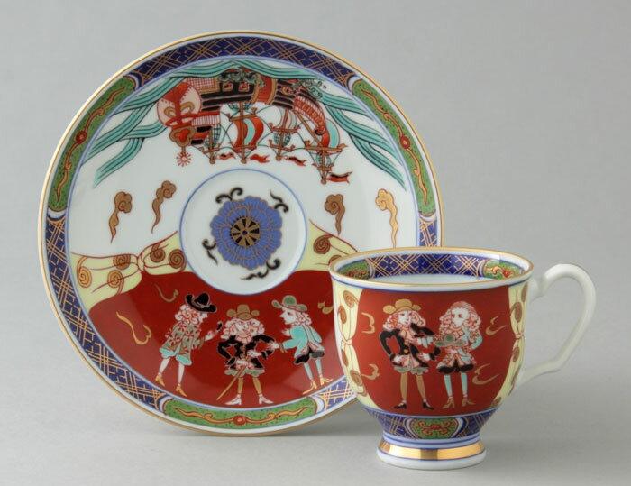 コーヒーカップ コーヒー碗皿 有田焼 染錦オランダ人 珈琲碗皿(1客) Y160-W