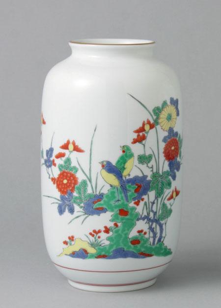 有田焼 7寸夏目花瓶 花鳥岩梅 Y205-W