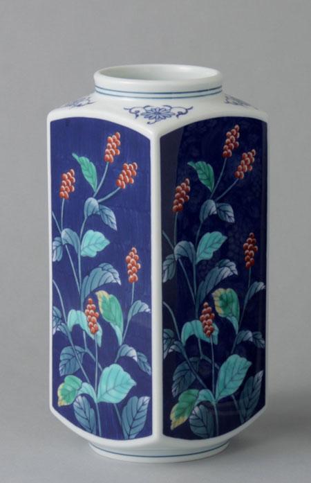 有田焼 8寸京型花瓶 水草 Y223-W