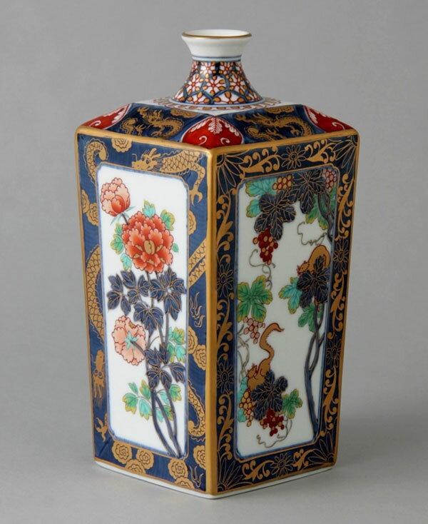 花瓶 フラワーベース 花入れ 有田焼 7.5寸角瓶 色彩ぶどう Y228-W