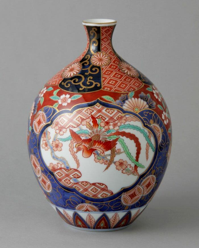 有田焼 8寸桂型花瓶 赤濃木甲桐紋 Y242-W