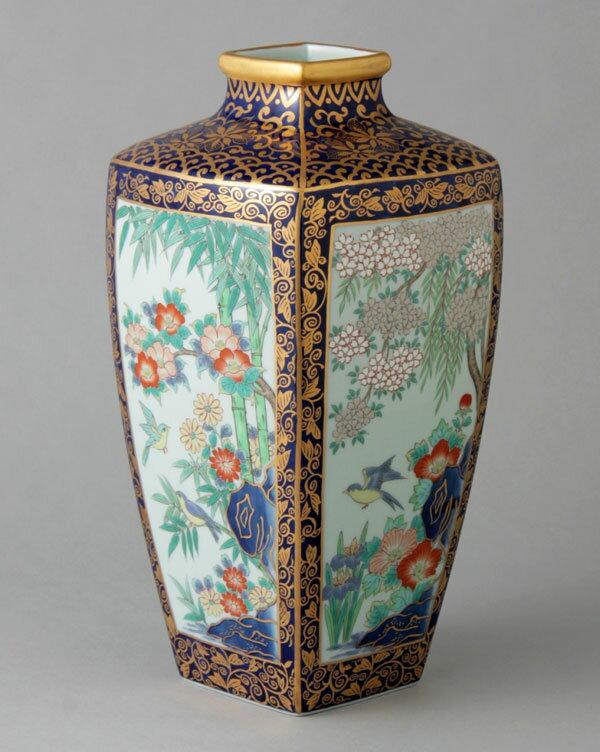 花瓶 フラワーベース 花入 有田焼 10寸角瓶 金彩花鳥図 Y249-W