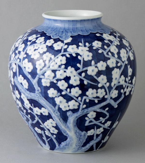 有田焼 10寸巴型花瓶 夕梅 Y252-W