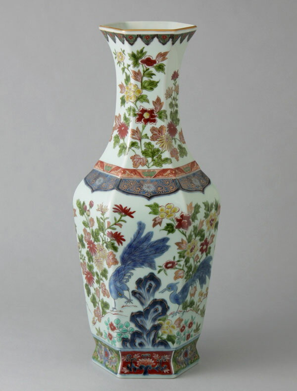 有田焼 15寸六角支那花瓶 古赤絵牡丹孔雀 Y255-W
