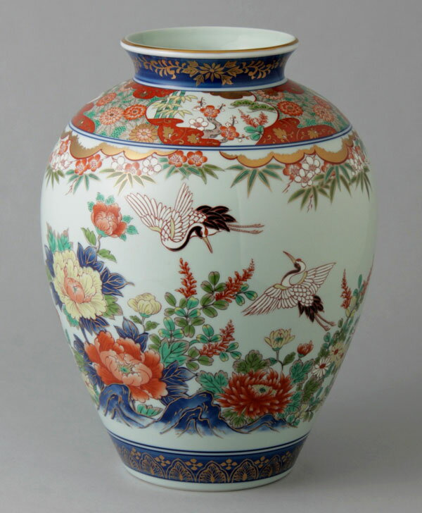 有田焼 10寸文型花瓶 双鶴 Y241-W