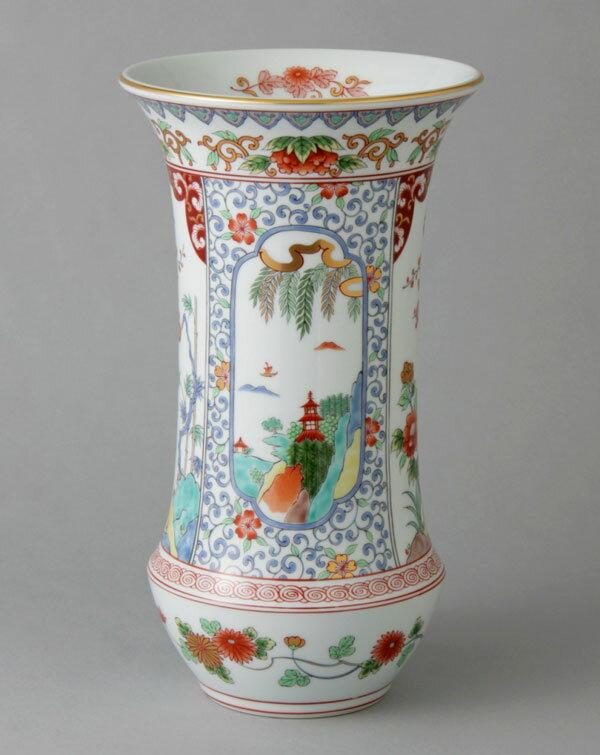 有田焼 10寸反型花瓶 色絵山水 Y232-W