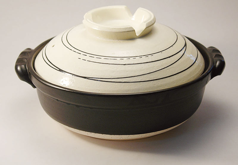 IH対応 日本製 卓上鍋 IH電磁調理土鍋 白らせん IH9号鍋